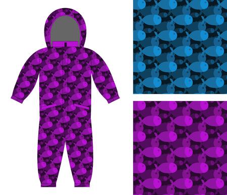 c4ac2a409  49367340 - Plantilla de ropa para niños. Mono largo con el patrón de los  peces. 3D de marina