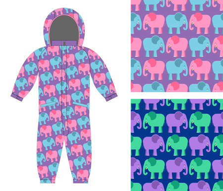 overalls: Childrens winter overalls. Fabric seamless pattern cute elephant. Set of backgrounds for children. Animal from jungle for childrens clothing. Illustration