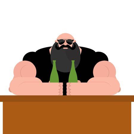 hombre con barba: Bar de moteros Brutal. Hombre barbudo con gafas. Abuelo fuerte con los músculos grandes. Hombre de gran alcance con la botella de cerveza. Vectores