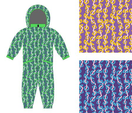 coverall: Children winter coverall template with an abstract pattern. Set of seamless textures for baby clothes. Geometric shapes background. Illustration