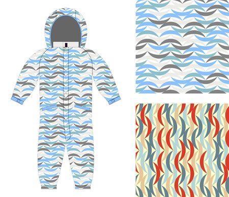 8b2f5b61a  49367571 - Ropa de los niños sobretodo de un modelo abstracto. Conjunto de  texturas sin fisuras para el tejido bebé. Ondas de color de fondo.