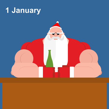 1 january: Brutal Santa Claus at bar. Strong grandfather with beer bottle. 1 January - rest Santa Claus after new year night. Christmas character with  bottle of alcohol.