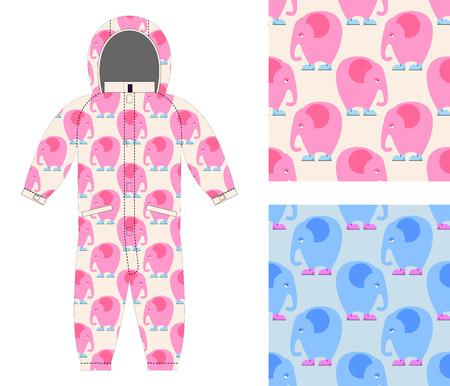 d232eb09f ... niño mono del elefante lindo en los zapatos. Conjunto de patrón  transparente de elefante rosa triste. Antecedentes de telas  para niños y  niñas.