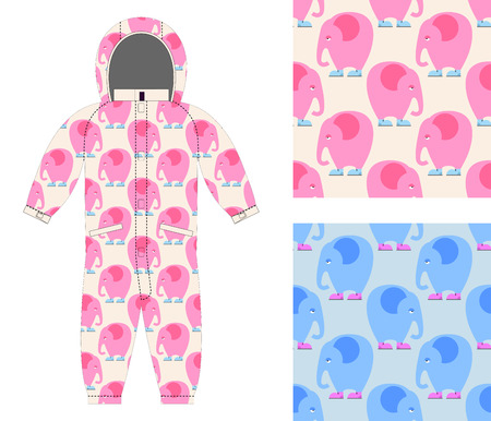 jumpsuit: Jumpsuit child structure from cute elephant in shoes. Set of seamless pattern of sad pink elephant. Background for fabrics: for boys and girls. Illustration