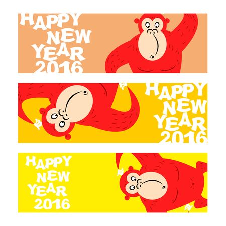 wild web: Happy new year. Holiday banner for Web. Symbol of Chinese new year 2016-Red monkey. Funny, cute wild animal monkey. Illustration