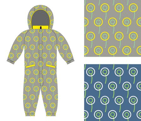 romper: Stylish childrens clothing. Fashionable overalls for boy or girl. Set of seamless pattern of circles for baby tissue. Illustration