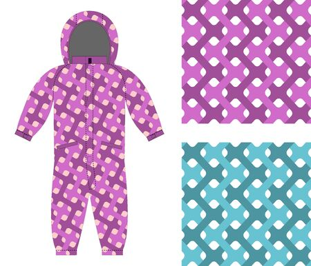 interlocking: Kids overalls. Set of seamless pattern interlocking Web. Childrens clothing template and color textures for fabrics.