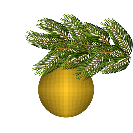 spruce: Green lush spruce and gold ball ornament for Christmas and new year. Holiday tree.