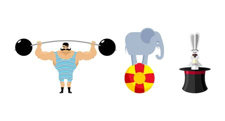 strongman: Circus set elements. Vintage circus strongman. Retro athlete with a barbell. Ancient bodybuilder. Circus elephant on ball. Wild animal jungle in circus. Hat for focus. Bunny in magic hat.