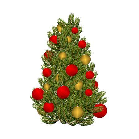 decorated christmas tree: Christmas tree and toys. Decorated Christmas tree for  holiday. Red and gold ornament balls. Tree for Christmas. Illustration