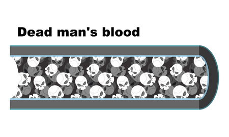 human blood circulation: Blood of dead man. Blood cells in the form of skulls. Anatomy of blood vessel. Vienna dead man. White blood cell death.