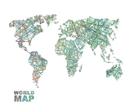 matter: World map colored lines. Global Internet network connects  matter of planet Earth. Business concept global connectivity and communication. Geography data transfer Illustration