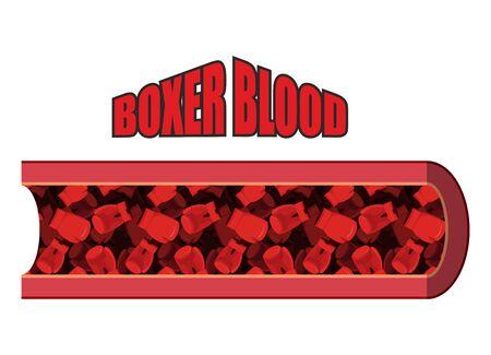 globulo rojo: Boxer sangre. Las células sanguíneas en forma de guantes de boxeo. Anatomía de los vasos sanguíneos. humorística imagen. En la vena de sangre del boxeador guantes de boxeo rojos.