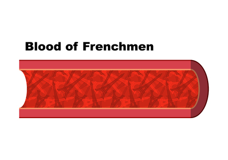 cell tower: Blood of Frenchmen. Blood cells in form of  Eiffel Tower. Anatomy of blood vessel. Vienna man from France. Humorous picture. In veins of human blood from French Parisian landmark.