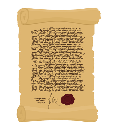 manuscript: Ancient Royal Decree with print. Secret  Old yellow scroll. Abstract calligraphy text. Antique manuscript. Old faded paper document Illustration
