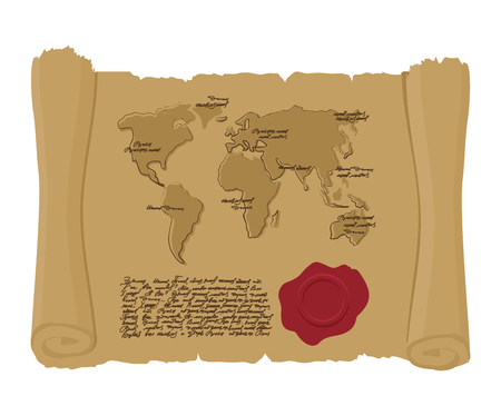 old document: Map world of  ancient scroll with seal of King. Old document. Archaic treasure map. Abstract handwritten text. Antique manuscript with mainlands. Geographic map of ancient world