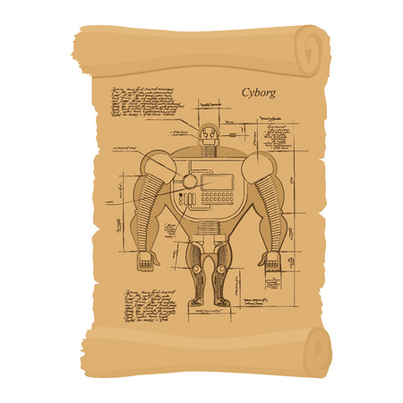 Old scheme of cyborg. Ancient scroll of human Scheme of  robot. Archaic architectural project. Design of Android on ancient papyrus. Secret Invention of Leonardo da Vinci. Vintage document