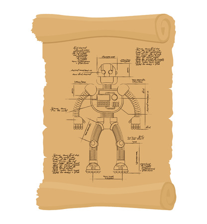 Drawing Robot Ancient scroll. Retro scheme of Technological machine cyborg. Archaic architectural project. Design of Android on ancient papyrus. Historical secret document. An unknown invention of Leonardo da Vinci.