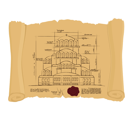 ancient papyrus: Drawing of Church Of St. Alexander Nevsky of ancient scroll. Retro Scheme of ancient Cathedral. Old building of project. Construction of Church in Bulgaria on an ancient papyrus.