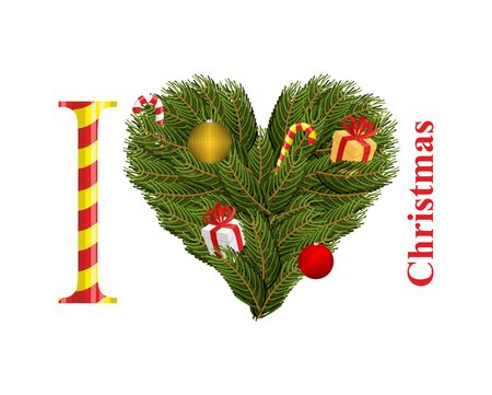 conifer: I love Christmas. Symbol of heart of FIR branches. Gift with Red Ribbon and Christmas toys. Conifer twig wreath in shape of heart.