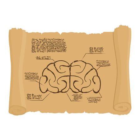 inventions: Brain of old scroll Drawing. Old brain Diagram. Archaic human anatomy project. Illustration in style of Leonardo da Vincis inventions. Illustration