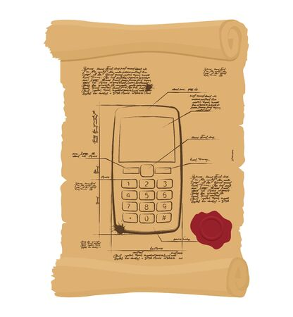 papyrus: Cell phone with buttons on old scroll. Paper Project of ancient phone. Prehistoric mobile phone old Papyrus