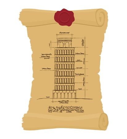 papyrus: Tower of Pisa Old scroll. Ancient drawing of  leaning scheme of ancient architectural constructions in Italy. Architectura building landmarks of Italy. Design of architecture in ancient papyrus.