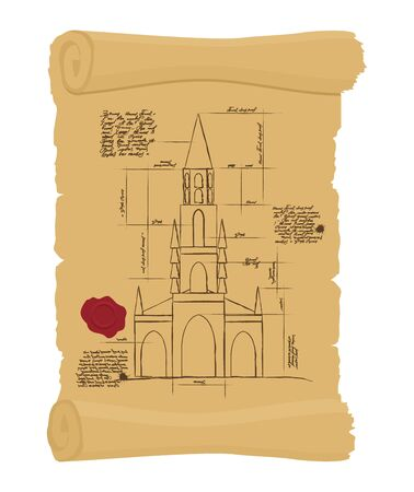 ancient papyrus: Berne Cathedral on old paper Scheme. Ancient scroll.  scheme of ancient architectural buildings in Switzerland. architectural project of building landmarks. Design of architecture in ancient Papyrus