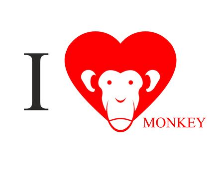 I Love Monkey Heart Symbol In Form Of Head Monkey Chinese New