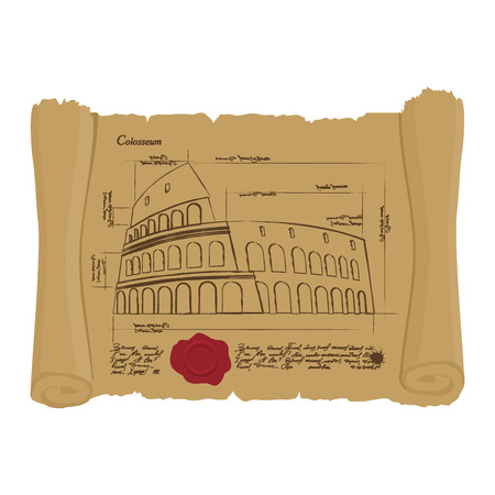 ancient papyrus: Drawing of Colosseum at Ancient scroll. Retro Scheme of ancient architectural structures in Rome. Archaic architectural sights of Italy. Design of architecture in ancient papyrus. manuscript of building Illustration