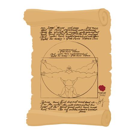 uomo vitruviano: L'uomo vitruviano di Leonardo Da Vinci illustrazione umoristica. Spot atleta Bodybuilder con grandi muscoli. uomo di forma fisica Vettoriali