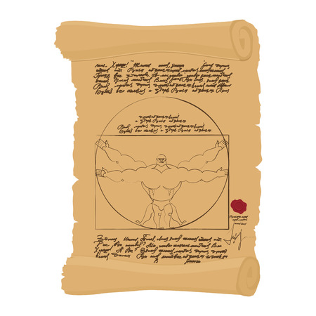 vinci: Vitruvian man of Leonardo Da Vinci humorous illustration. Spots athlete Bodybuilder with big muscles. fitness man Illustration