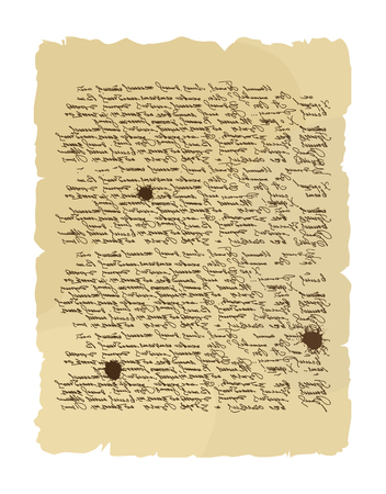 archaic: Ancient letter. Archaic order. Abstract messy handwriting. Old mint order paper. Very old document. Illustration
