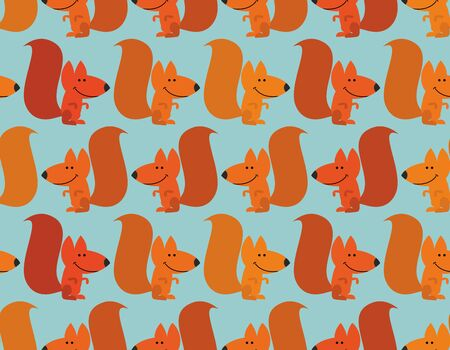 downy: Funny squirrel background. Cute redhead small animal. Rodent from  forest. Wild animal seamless pattern for baby tissue.
