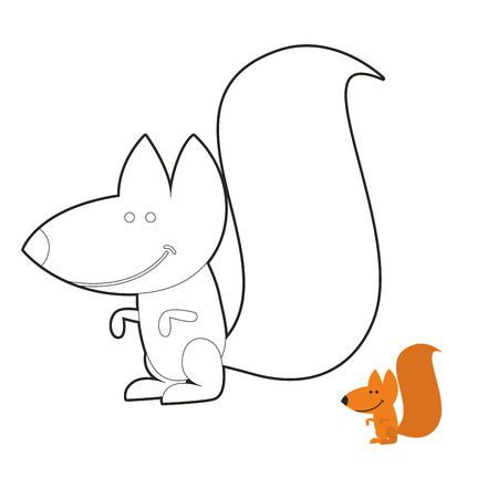 frenzy: Squirrel coloring book. Wild rodent Frenzy. Funny cute animal out of  forest.