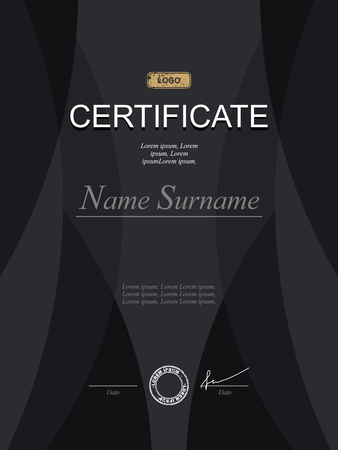 serious business: Black stylish certificate. Template for diploma. Strict modernist certificate in dark tones. Template for serious black certificate for business projects.