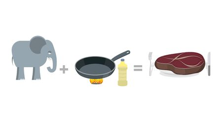 step well: Cooking instruction elephant. Big elephant and pan, as well large steak. Manual Cooking elephant. huge piece of fried meat. Step by step cooking large wild animal from the jungle.