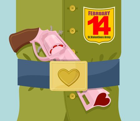belt buckle: Valentines day. Love gun.  Military clothing and strap with buckle. Gold heart belt buckle. Arms of love. Army of love. Gun loaded hearts. 14 February.