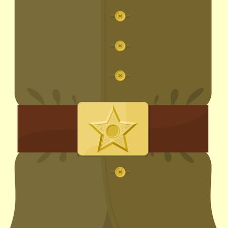 buckle: Soldiers retro clothing. Strap and buckle with star. Vintage military uniform. Green uniforms of  Russian soldier. Illustration for 23 February and 9 May. Illustration