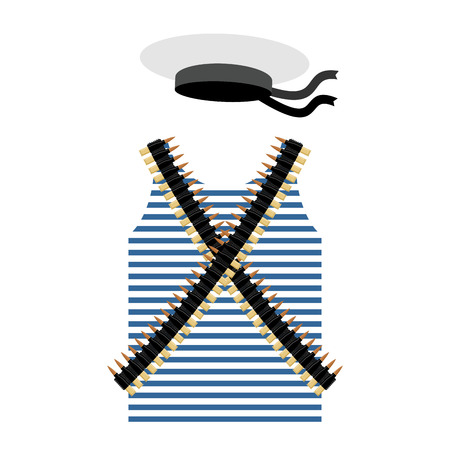 top gun: Striped vest shirt-clothing sailor man. Tape with bullets. Cartridge belt bandoleer. Peakless Hat Cap Russian sailor man. Set of clothes and gear of the Soviet revolutionary sailor.