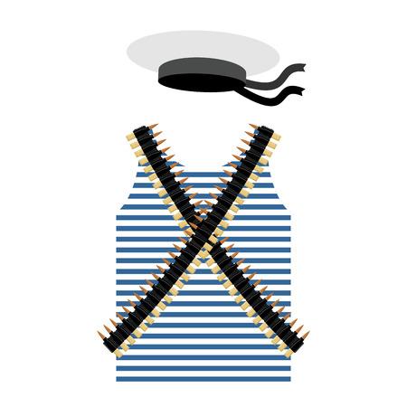gunfire: Striped vest shirt-clothing sailor man. Tape with bullets. Cartridge belt bandoleer. Peakless Hat Cap Russian sailor man. Set of clothes and gear of the Soviet revolutionary sailor.