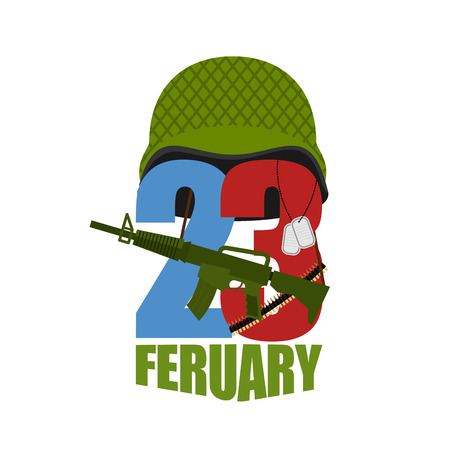 defenders: Defenders Day card for greetings of men in Russia. 23 February. Protective soldiers helmet. Military hat and gun. Translation phrase in Russian: 23 February. Illustration