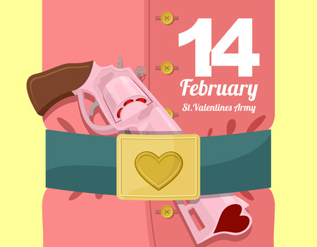 belt buckle: 14 February. Valentines day. Military clothing and a strap with buckle. Gold heart belt buckle. Arms of love. Army of love. Gun loaded hearts. Love gun Illustration