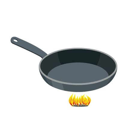 saute: Pan on white background. Empty Iron frying pan on high heat. Kitchen utensils for frying food.