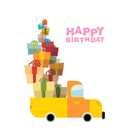 fun day: Car and pile of presents. Happy birthday to you. Lot of gift boxes for holiday. Fun day in persons life.