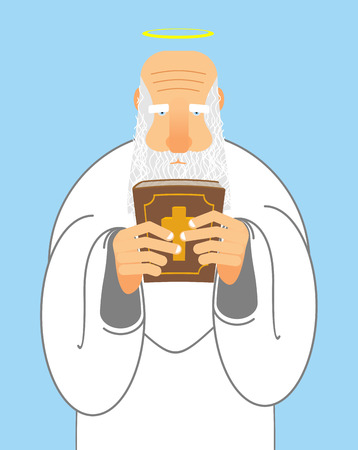 testament: God and Bible. Old man with beard holds  Holy Bible. New Testament and good Grandpa with Halo. Religious Christian illustration. Illustration