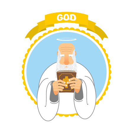 new testament: God and Holy Bible. Good Grandpa keeps Holy Book. Holy man and tall ancient book. New Testament. Halo above his head. Man with big white beard in white clothes.
