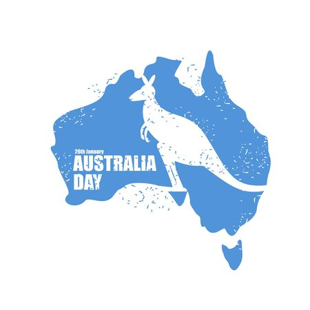 26 january: Australia day. National Patriotic holiday in Australia. Map of continent. Kangaroo recognizable animal in country. 26 January.