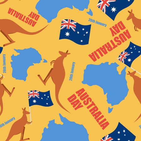 red kangaroo: Australia day seamless pattern. Ornament for national day of Australia. Map of Australia and kangaroo. Traditional public holiday in country and wild animal. Illustration