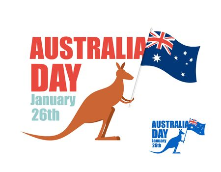 australia: Australia day. Illustration for patriotic holiday of country. Kangaroo holding flag of Australia. Hilarious animal with flag of country.